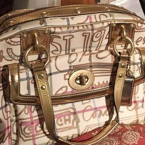 Vintage Coach Cream & Gold Metallic Graffiti Bag